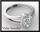 ON SALE Silver Engagement Ring With Blue Aquamarine