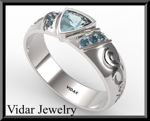 ON SALE Aquamarine And Blue Diamond Silver Mens Wedding Band