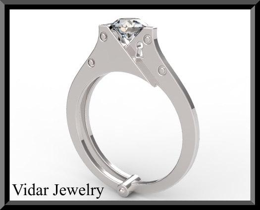 ON SALE Sterling Silver Engagement Ring With White Sapphire