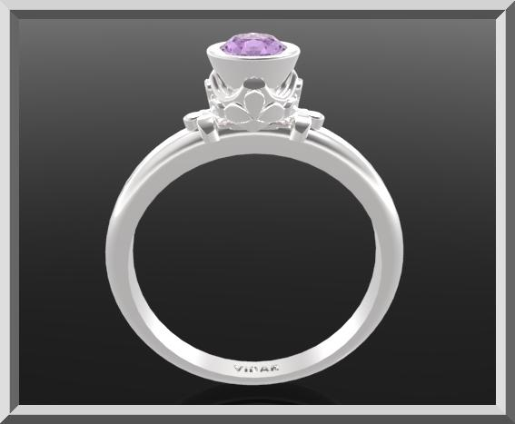 ON SALE Purple Amethyst Sterling Silver Engagement Ring