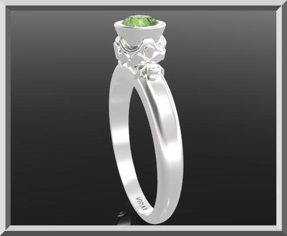 ON SALE Green Peridot Sterling Silver Engagement Ring