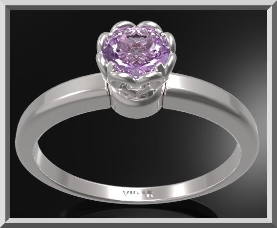 ON SALE Delicate Purple Amethyst Sterling Silver Flower Engagement Ring