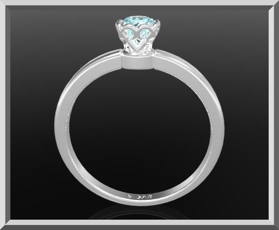 ON SALE Delicate Blue Topaz Sterling Silver Flower Engagement Ring