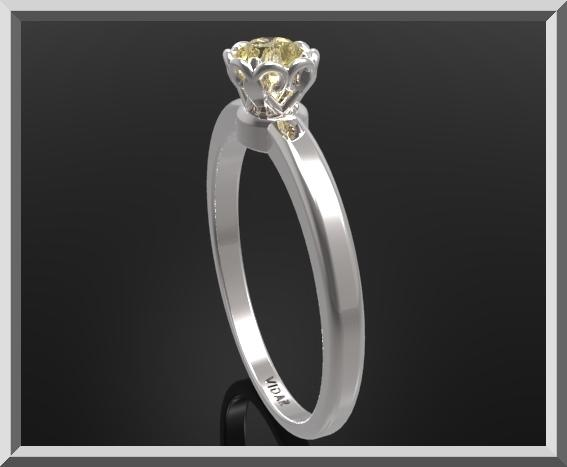 Delicate Yellow Citrine Sterling Silver Flower Engagement Ring