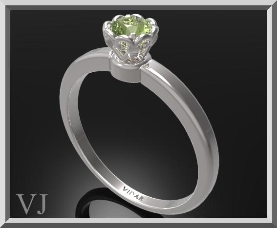 ON SALE Delicate Green Peridot Sterling Silver Flower Engagement Ring