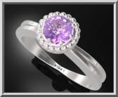 ON SALE Purple Amethyst Silver Engagement Ring With Little Silver Balls