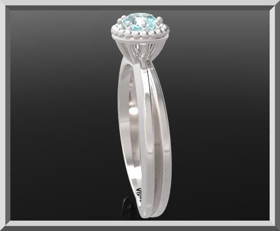 ON SALE Blue Topaz Sterling Silver Engagement Ring With Little Silver Balls