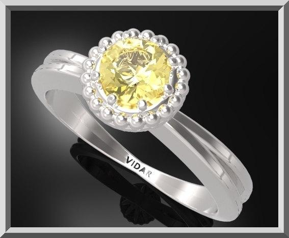 ON SALE Yellow Citrine Sterling Silver Engagement Ring With Little Silver Balls