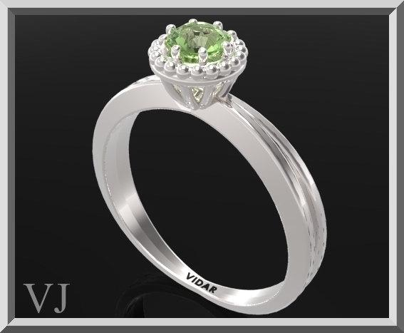 ON SALE Green Peridot Sterling Silver Engagement Ring With Little Silver Balls