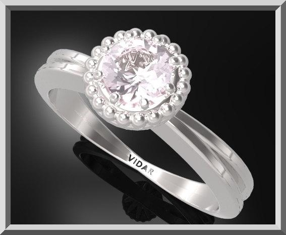 ON SALE Rose Quartz Sterling Silver Engagement Ring With Little Silver Balls