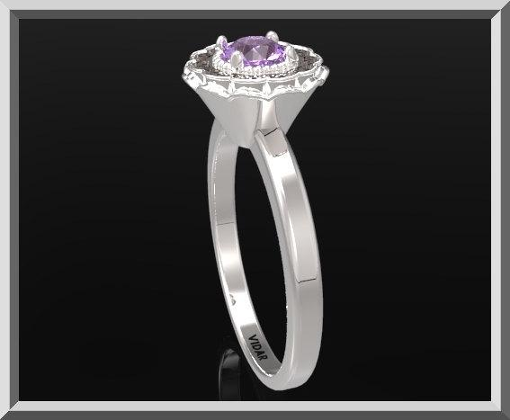 ON SALE Statement Purple Amethyst Sterling Silver Flower Engagement Ring