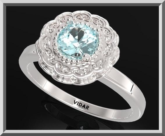 ON SALE Statement Blue Topaz Sterling Silver Flower Engagement Ring