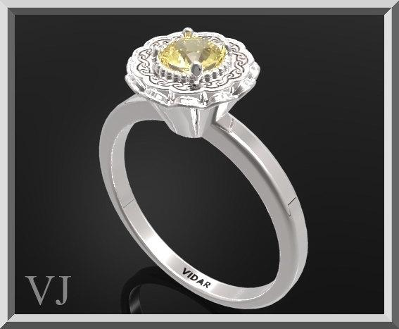 ON SALE Statement Yellow Citrine Sterling Silver Flower Engagement Ring