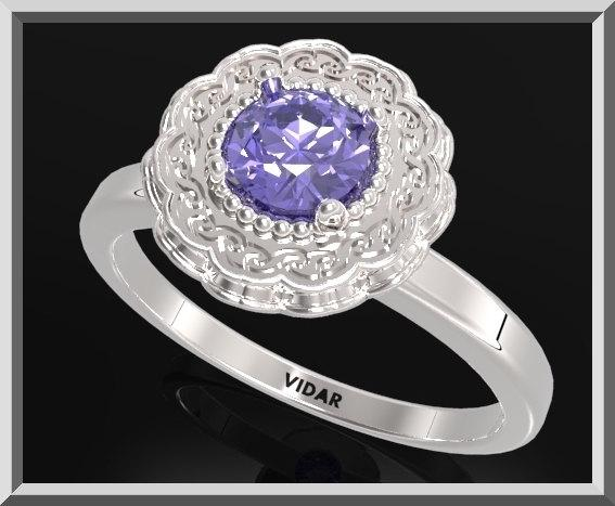 ON SALE Statement Ocean Blue Sapphire Sterling Silver Flower Engagement Ring