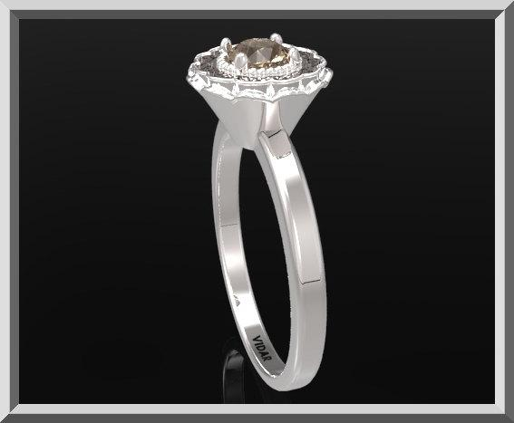 ON SALE Statement Smoky Quartz Sterling Silver Flower Engagement Ring