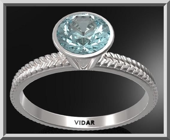 ON SALE Unique Blue Topaz Sterling Silver Leaf Engagement Ring