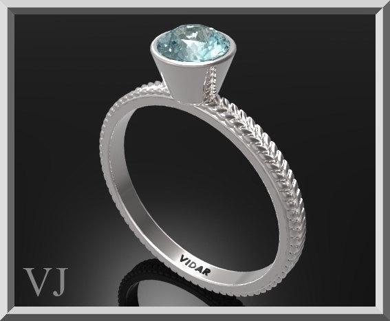 ON SALE Unique Blue Topaz Sterling Silver Leaf Engagement Ring