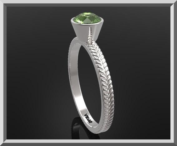 ON SALE Unique Green Peridot Sterling Silver Leaf Engagement Ring