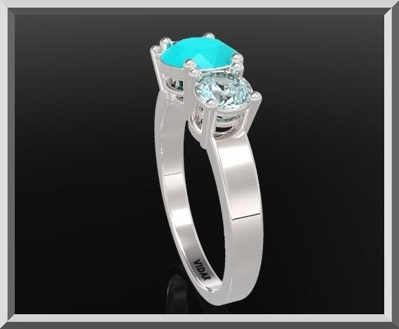 ON SALE 3 Stones Ring Blue Topaz And Blue Chalcedony Silver Engagement Ring