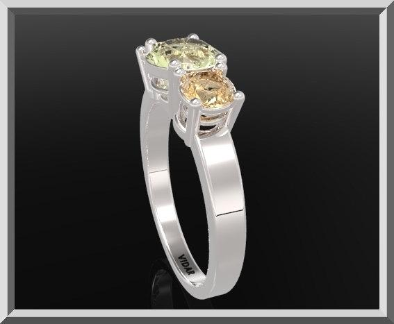 ON SALE 3 Stones Ring Yellow Topaz And Lemon Quartz Silver Engagement Ring