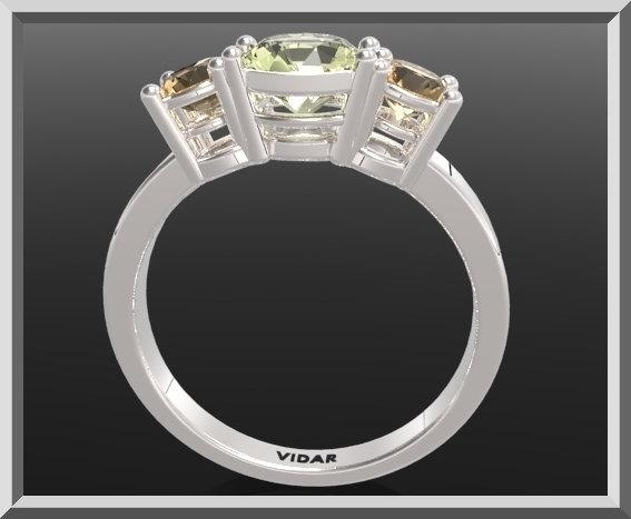ON SALE 3 Stones Ring Yellow Topaz And Lemon Quartz Silver Engagement Ring