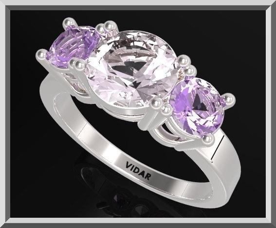 ON SALE 3 Stones Ring Purple Amethyst And White Quartz Silver Engagement Ring