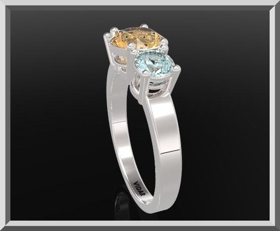 ON SALE 3 Stones Ring  Yellow Topaz And Blue Topaz Sterling Silver Engagement Ring