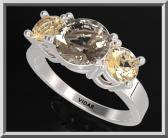ON SALE 3 Stones Ring Yellow Topaz And Smoky Quartz Silver Engagement Ring