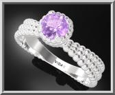 ON SALE 925 Sterling Silver Spiral Engagement Ring With Amethyst Gemstone