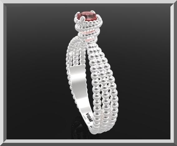 ON SALE 925 Sterling Silver Spiral Engagement Ring With Red Garnet Gemstone