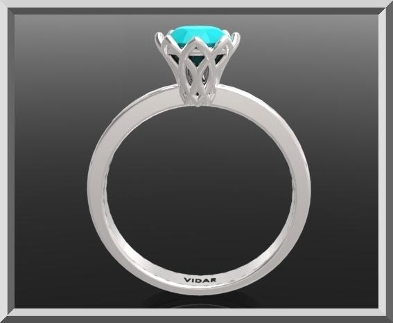 ON SALE 925 Sterling Silver Flower Engagement Ring With Blue Chalcidony