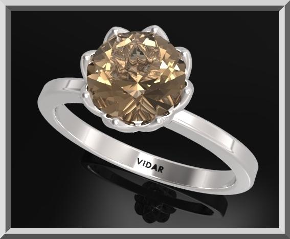 ON SALE 925 Sterling Silver Flower Engagement Ring With Smoky Quartz