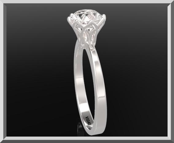ON SALE 925 Sterling Silver Flower Engagement Ring With White Topaz