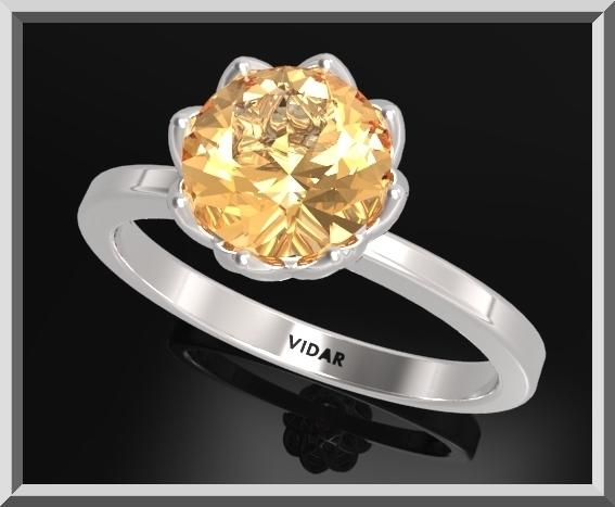 ON SALE 925 Sterling Silver Flower Engagement Ring With Yellow Topaz