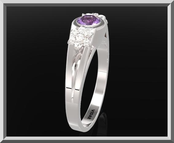 ON SALE 925 Sterling Silver Three Stone Flower Engagement Ring With Amethyst