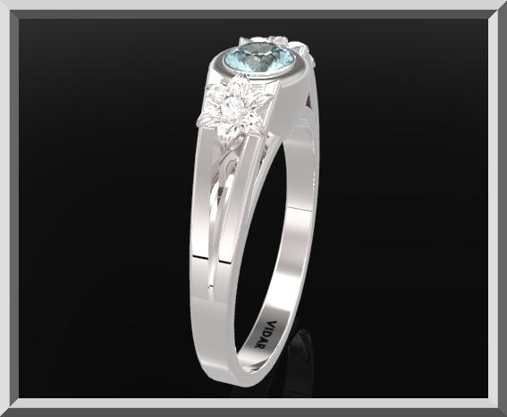 ON SALE 925 Sterling Silver Three Stone Flower Engagement Ring With Blue Topaz
