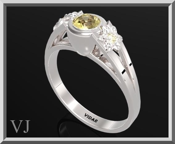 ON SALE 925 Sterling Silver Three Stone Flower Engagement Ring With Citrine