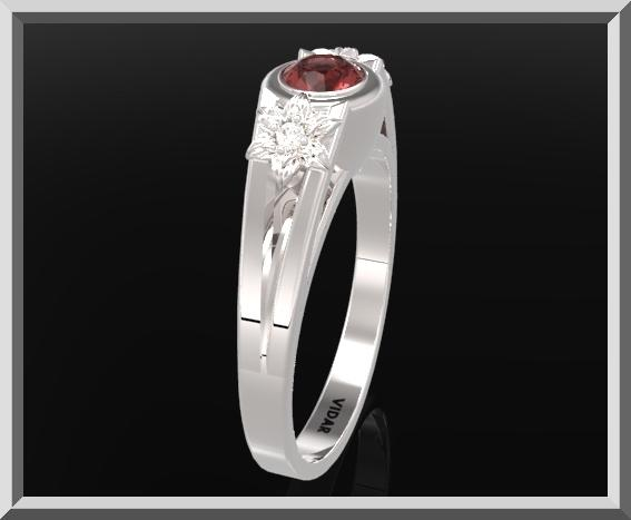 ON SALE 925 Sterling Silver Three Stone Flower Engagement Ring With Red Garnet