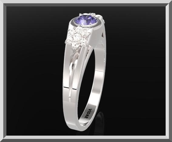 ON SALE Sterling Silver Three Stone Flower Engagement Ring With Blue Sapphire