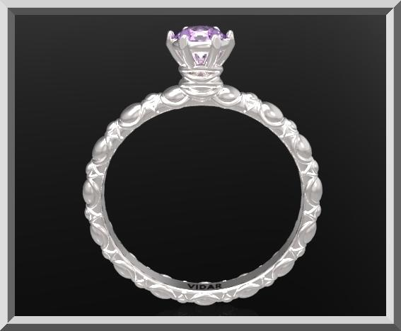 Gorgeous Purple Amethyst Sterling Silver Engagement Ring