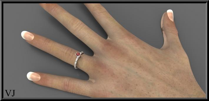 ON SALE Gorgeous 925 Sterling Silver Engagement Ring With Red Garnet