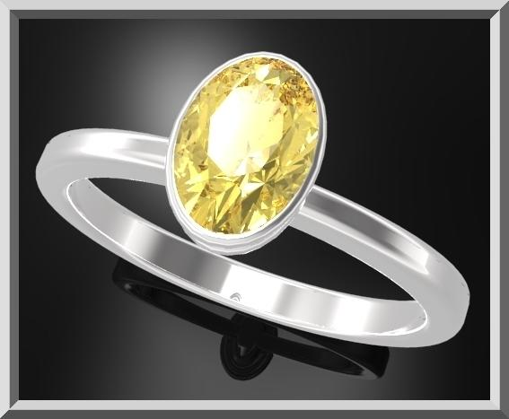 ON SALE Classic Oval Yellow Citrine Sterling Silver Engagement Ring