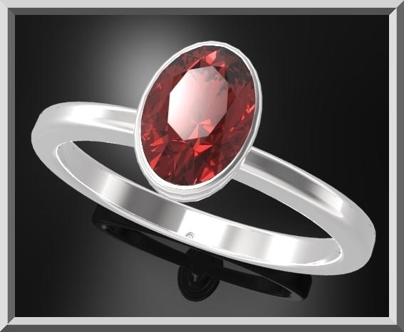 ON SALE Classic Oval Red Garnet 925 Sterling Silver Engagement Ring
