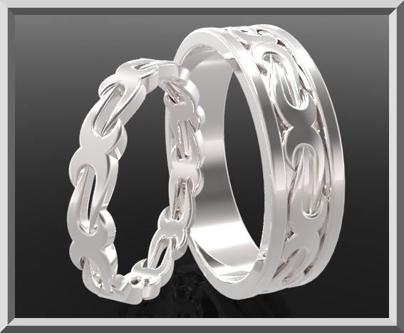 ON SALE Beautiful His And Hers Silver Matching Wedding Bands Set