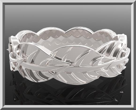 ON SALE Sterling Silver Leaf Woman Wedding Ring