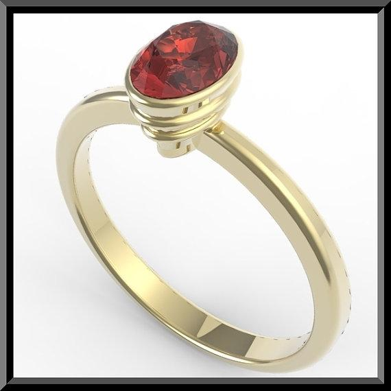 ON SALE 14k Yellow Gold Engagement Ring with Red Garnet
