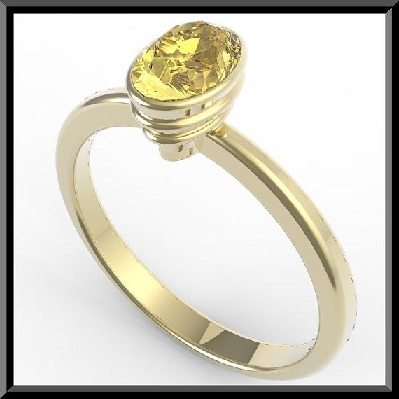 ON SALE 14k Yellow Gold Engagement Ring with Yellow Citrine
