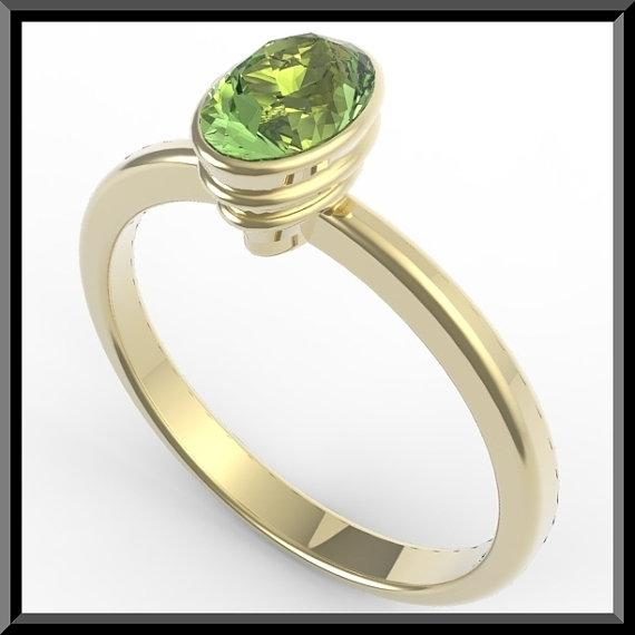 ON SALE 14k Yellow Gold Engagement Ring with Green Peridot