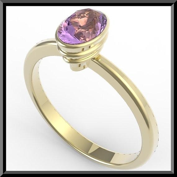 ON SALE 14k Yellow Gold Engagement Ring with Purple Amethyst