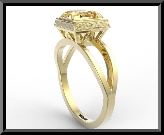 ON SALE Yellow Citrine 14k Yellow Gold Square Engagement Ring